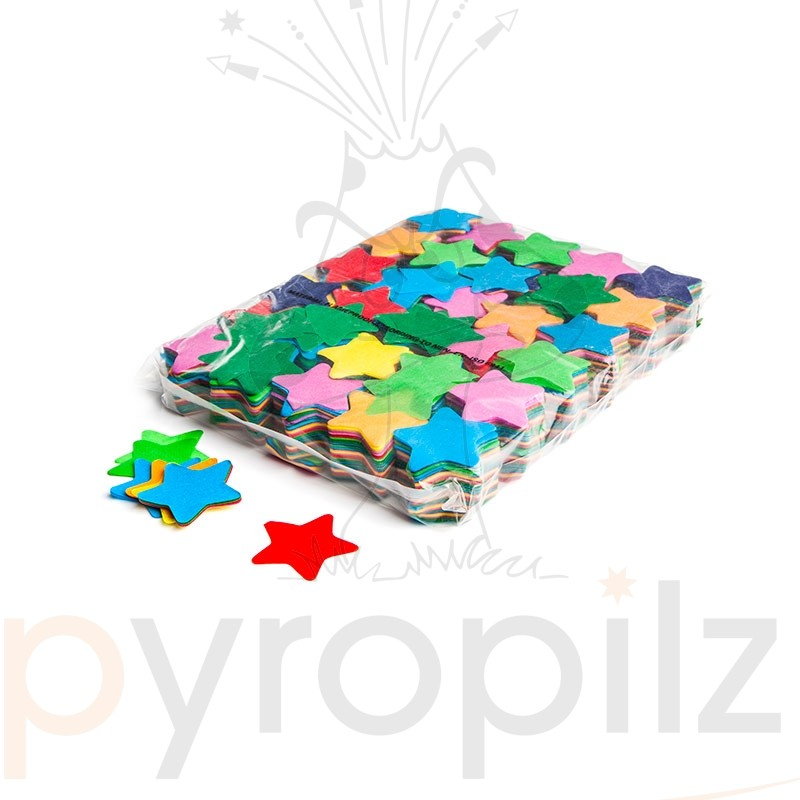 Slowfall confetti stars Ø 55mm - Multicolour / Bulk Bag 1KG