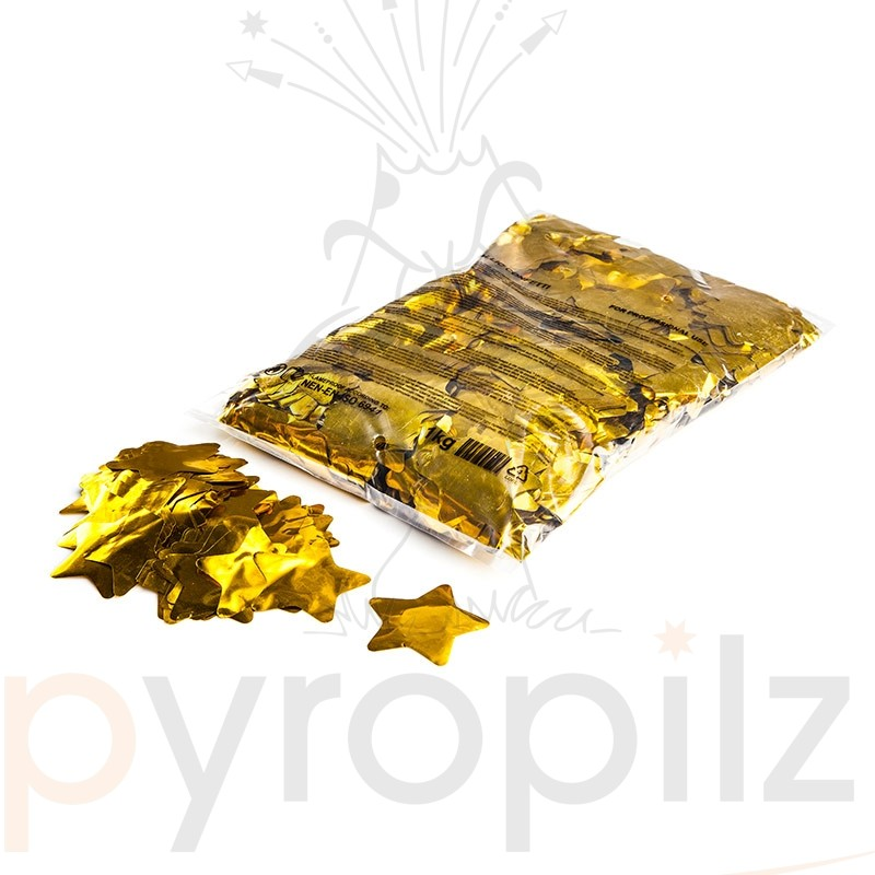 Metallic confetti stars Ø 55mm - Gold / Bulk Bag 1KG