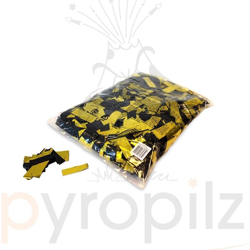 Metallic confetti rectangles 55x17mm - Bicolour Black-Gold / Bulk Bag 1KG