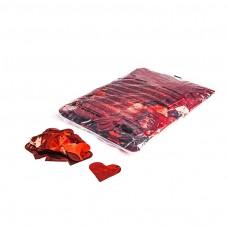Metallic confetti hearts Ø 55mm - Red / Bulk Bag 1KG